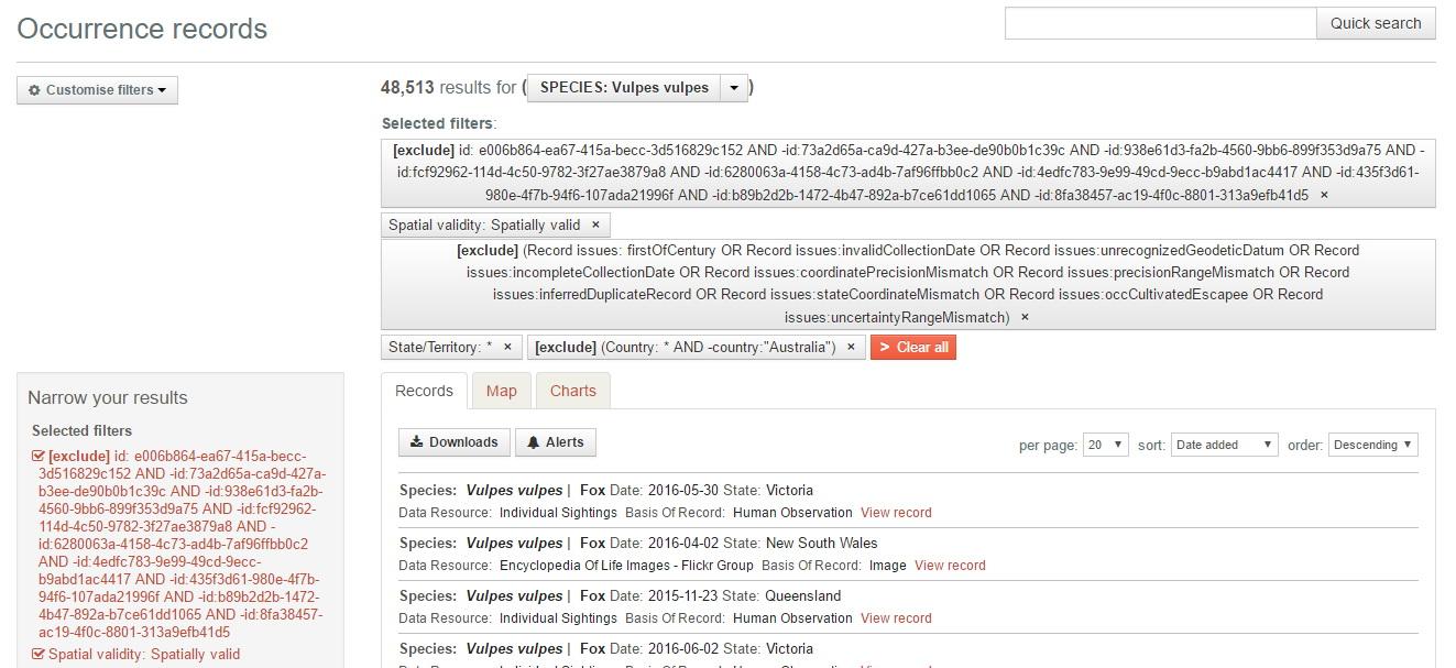 Filtered data in biocache
