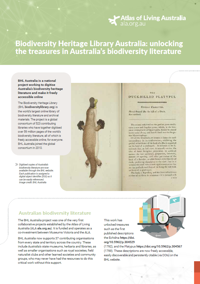 Biodiversity Heritage Library fact sheet cover