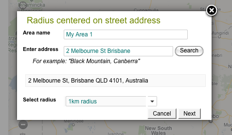 Search for a street address