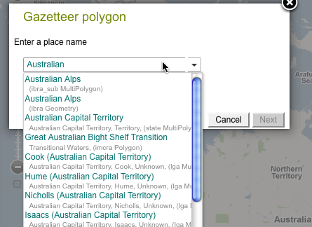 Enter a place name from the ALA gazetteer