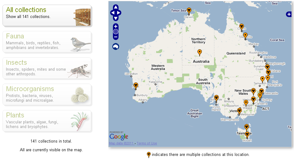 Map of Australian natural history collections