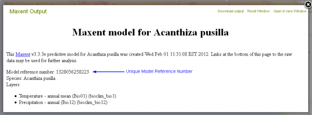 The Metadata shows the Model reference number to restore a model at a later time
