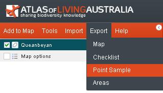 Export Point Sample menu option