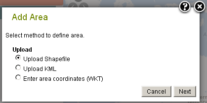 Import Areas choose one of three import options