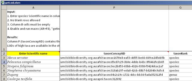 getLSID spreadsheet after running macro
