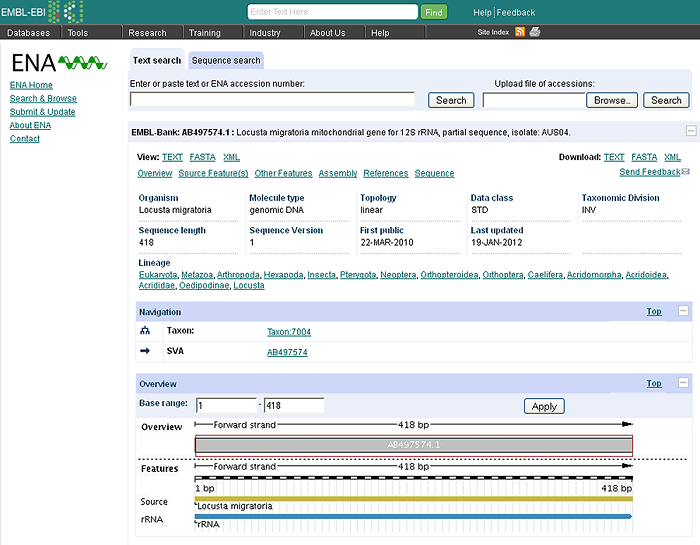 EMBL occurrence data record displayed through the European Nucleotide Archive (ENA)