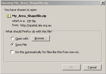 Export Shapefile zip file