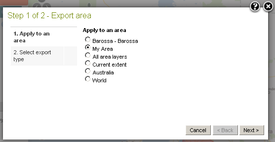 Select an Export area option