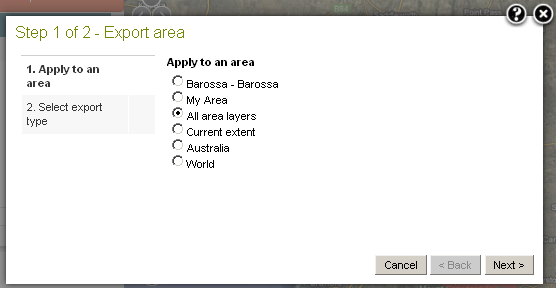 Select to export all predefined area layers