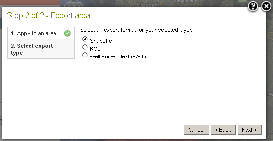 Select an export area format option