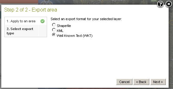 Export Area Well Known Text (WKT)