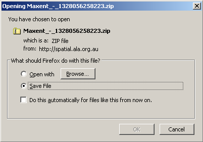 Maxent (predict) restored zip file of results