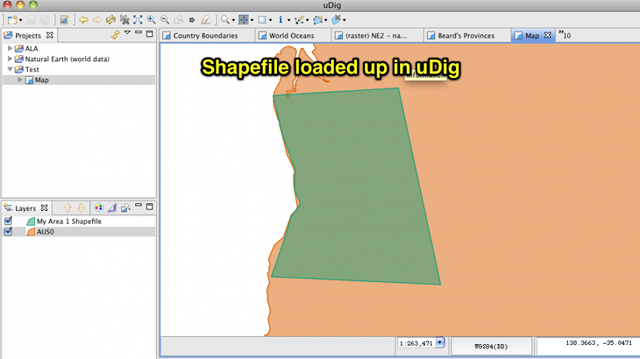 Shapefile loaded into uDig