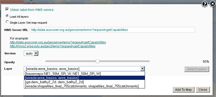 Using the WMS service to select from all layers from a WMS service