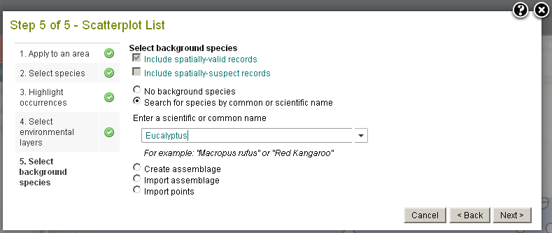 Choose to add a background species or species assemblage to the Scatterplot List images