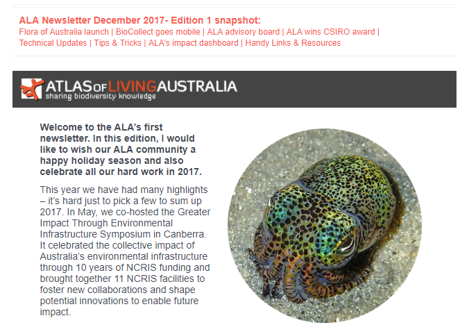 Image: ALA Newsletter – first edition December 2017