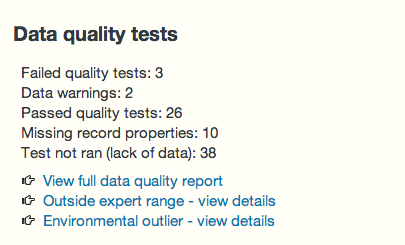 Data quality summary on record page