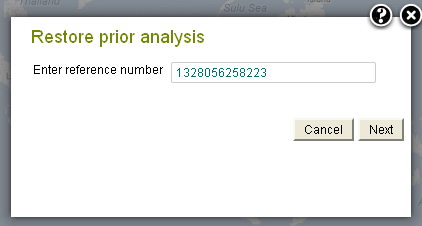 Enter the reference number to restore a previous analysis
