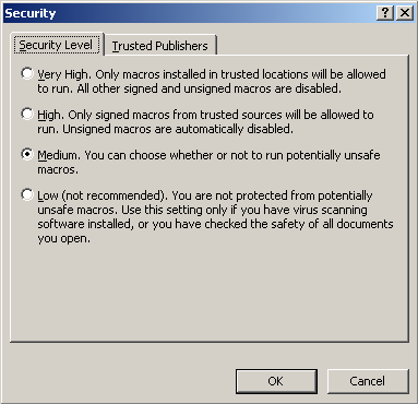 Change security setting in Windows