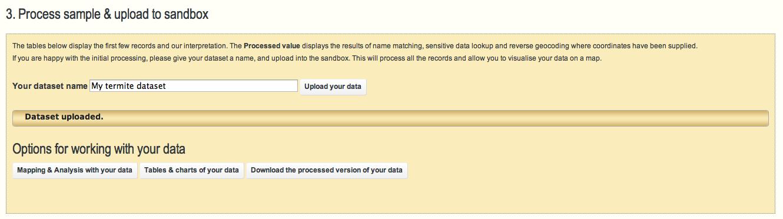 Data upload - options