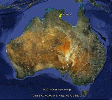 Image of the location of Ngukurr in the Northern Territory, Australia