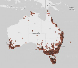 Image of distribution of fungi records in ALA