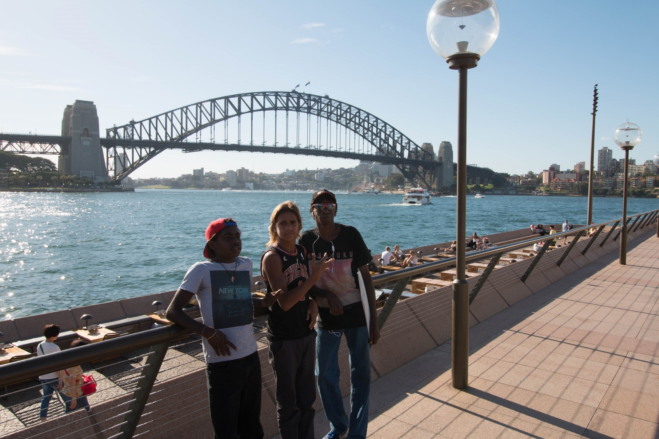 Lester Gumbula, Nehemiah Farrell and Kelvin Rogers at the Sydney Harbour Bridge