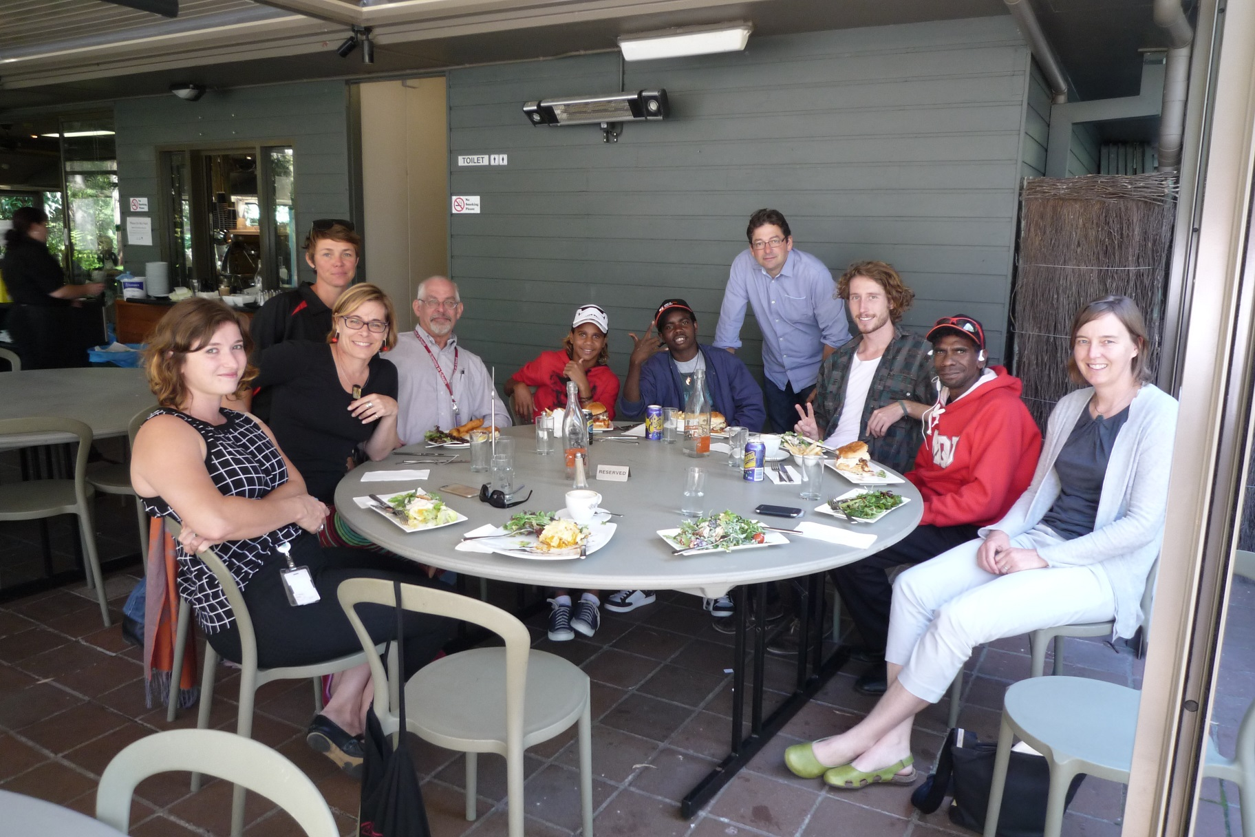 Having lunch with CSIRO's Atlas of Living Australia team: Minky Faber, Stephanie Vongavel, Emilie Ens, John La Salle, Nehemiah Farrell, Lester Gumbula, Peter Doughty, Mitchell Scott, Kelvin Rogers and Rebecca Pirzl, at the Australian National Botanic Gardens, Canberra