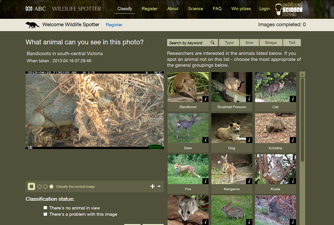 The Wildlife Spotter website is now live. Register to help identify animals across Australia.