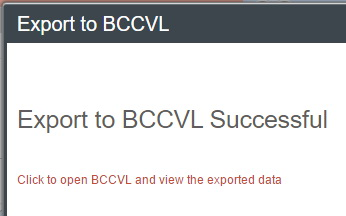 Export to bccvl succesful