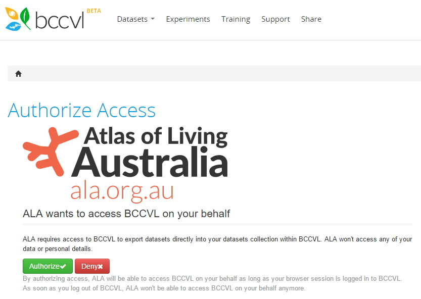 Authorise access to BCCvL