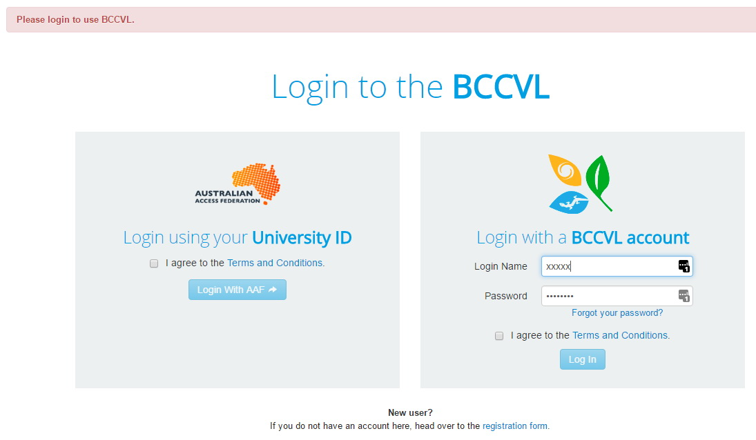 Login to bccvl or create a new account