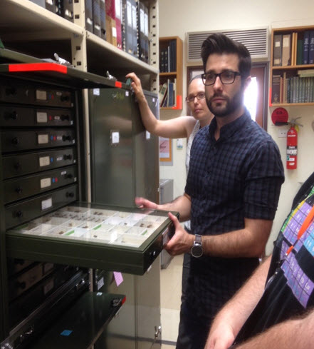 Brian Lessard shows teachers through the Australian National Insect Collection